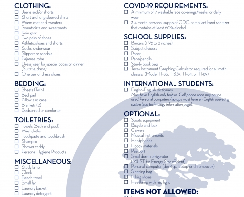 Residential Student Packing List