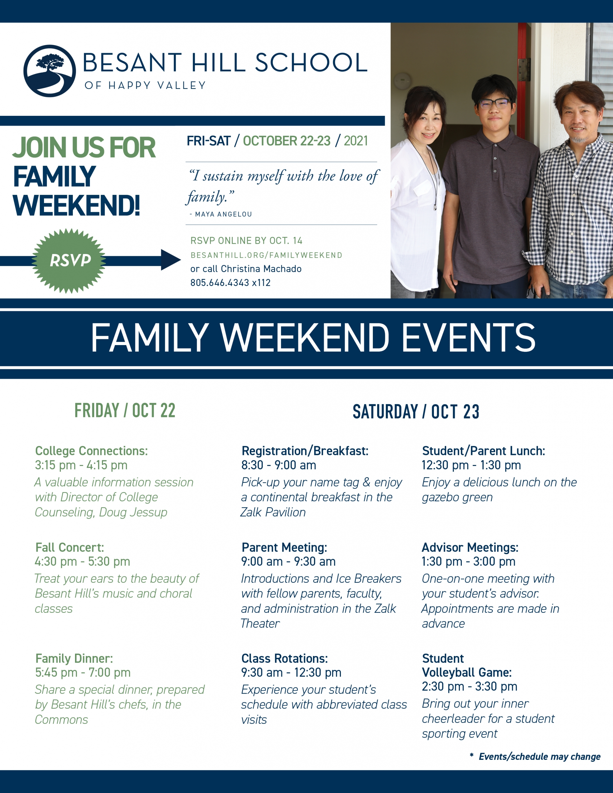 Family Weekend 2021 Invitation
